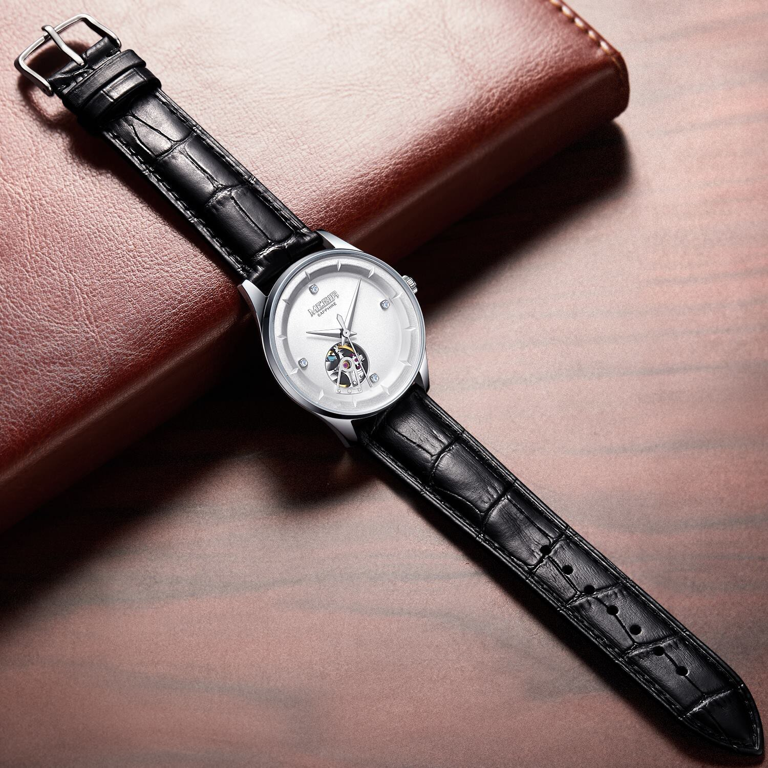 MEGIR Men's Mechanical Watches with Miyota Movement Genuine Leather Automatic Wrist Watch for Men Clock relogio masculino