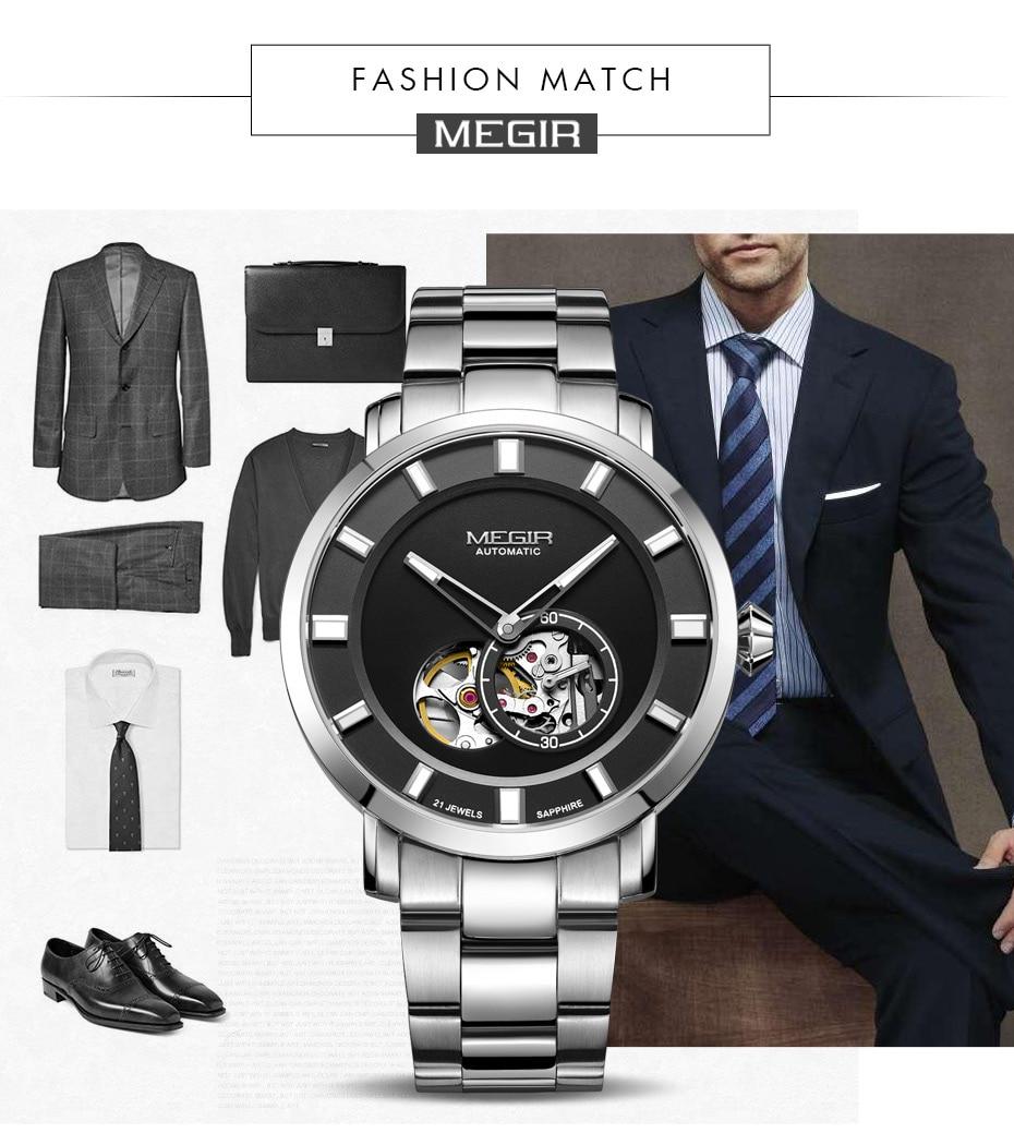 Luxury MEGIR Automatic Mechanical Watch Men Stainless Steel Business Wristwatches Clock Relogio Masculino Skeleton Men Watches