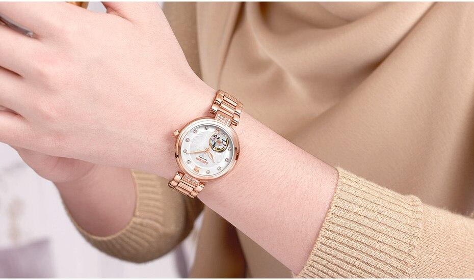 Luxury MEGIR Mechanical Women Watches Fashion Diamond Automatic Wrist Watch Women Ladies Hour Relogio Femenino Bayan Kol Saati