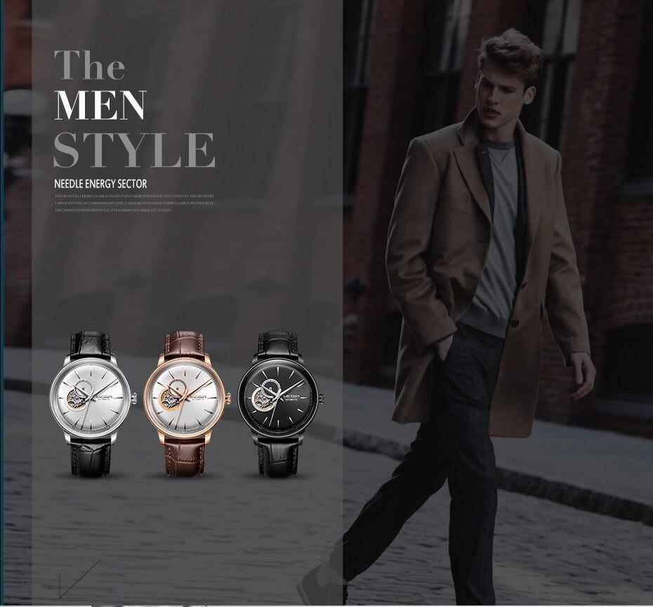 MEGIR Automatic Mechanical Watches Top Brand Luxury Skeleton Men Watch Clock Business Leather Wristwatches Relogio Masculino