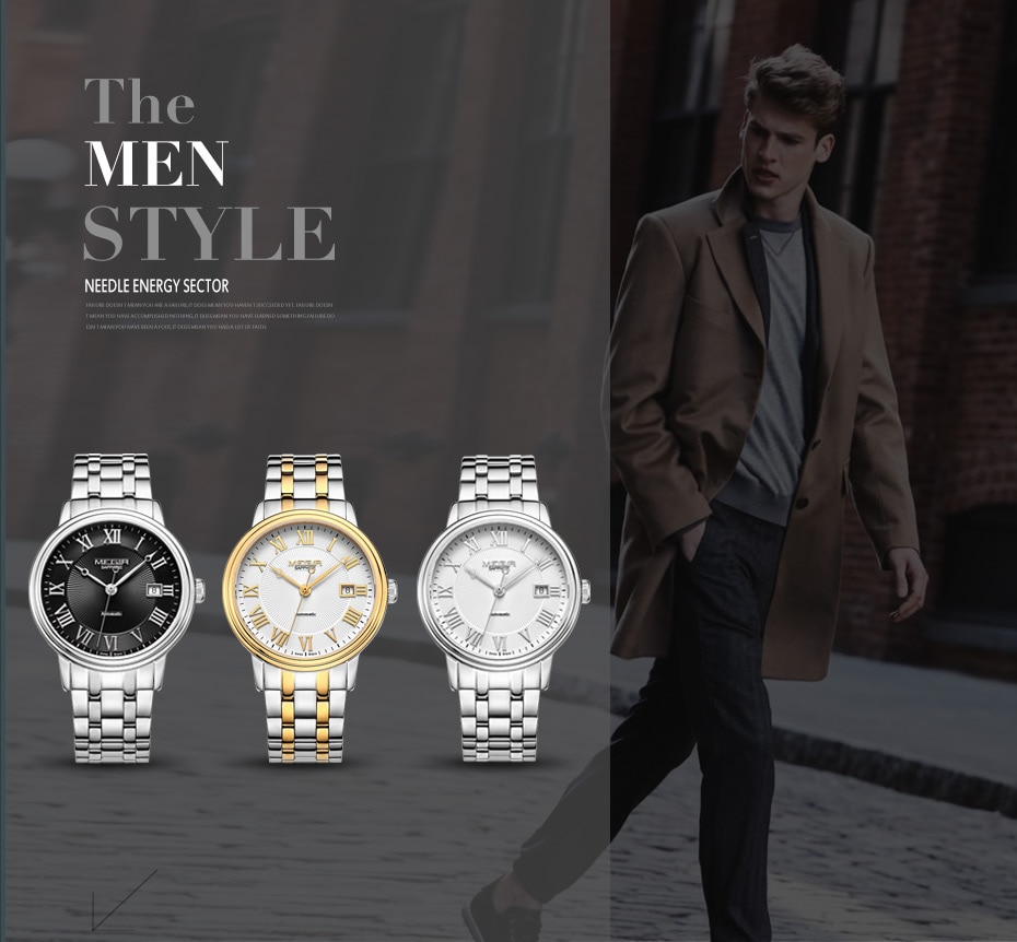 MEGIR Automatic Mechanical Watch Men Stainless Steel Mens Watches Top brand Luxury Business Wristwatches with Japan Movement