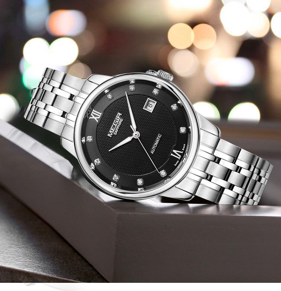 MEGIR Men's Mechanical Automatic Watch with Japan Movement luxury Stainless Steel Black Business Wrist Watches Man Montre Homme