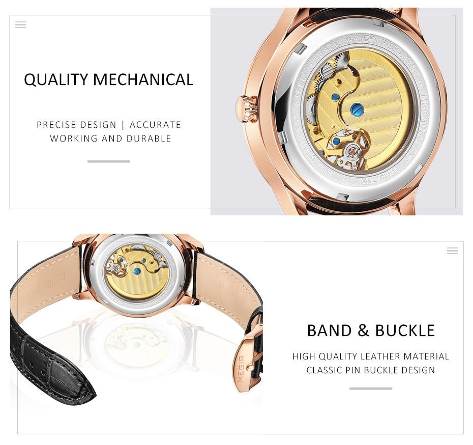 MEGIR Men Mechanical Wristwatches Blue Dial Automatic Watch for Men Brand Luxury Man Watches Clock Reloj Hombre Freeship by DHL