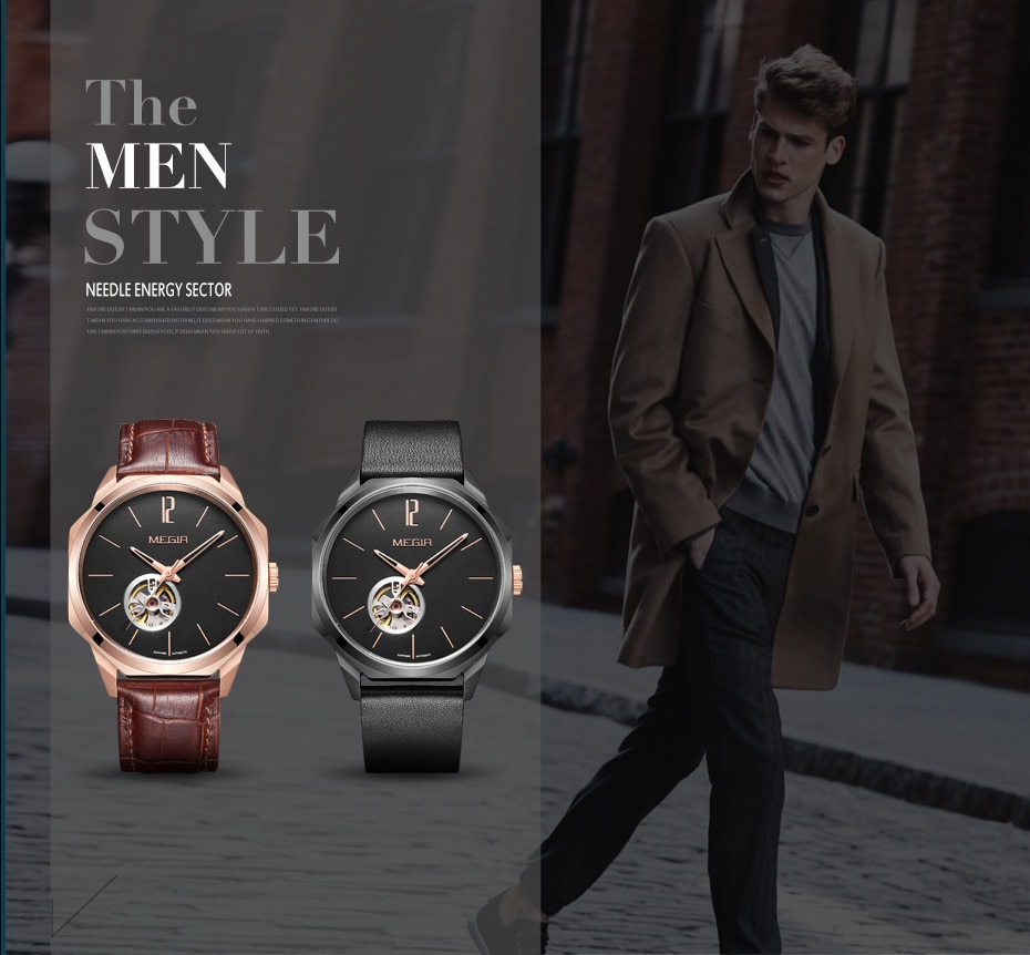 MEGIR Automatic Watch Men Mechanical Wristwatches with Miyota Movement Genuine Leather Man Mechanical Watches Freeship by DHL