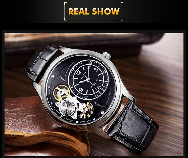 MEGIR Men Analog Quartz Watch Luxury Fashion Brand Leather Waterproof Man Watch Clock Men Erkek Kol Saati Relogio Masculino 2021