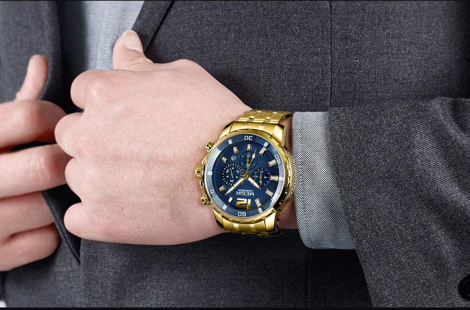 MEGIR Luxury Blue Watches Mens 2020 New Stainless Steel Waterproof Chronograph Army Military Wrist Watch for Men reloj hombre