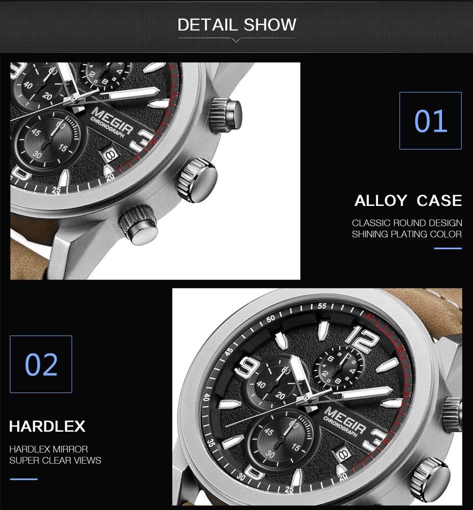 MEGIR Fashion Sport Watch Men Luxury Brand Men Quartz Watches Chronogragph Clock Leather Band Army Military Wrist Watch 2026