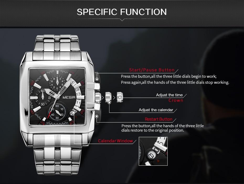 MEGIR Original Luxury Men Watch Stainless Steel Mens Quartz Wrist Watches Business Big Dial Wristwatches Relogio Masculino 2018