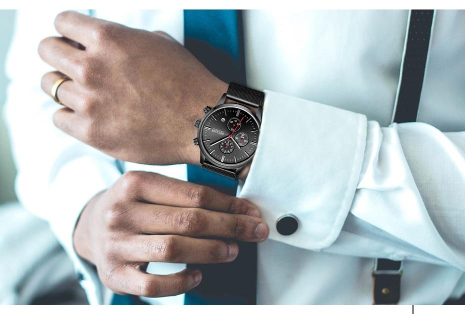 MEGIR Watch Men Stainless Steel Quartz Men Watches Chronograph Watch Clock Men Relogio Masculino for Male Students Relogios