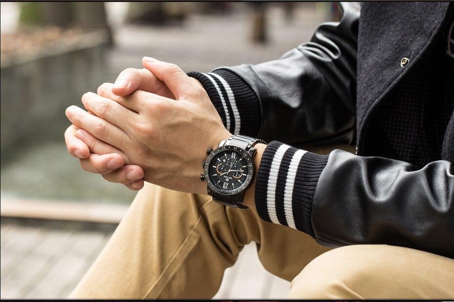 MEGIR Original Quartz Men Watch Stainless Steel Business Wrist Watches Clock Men Big Dial Waterproof Luminous Relogio Masculino