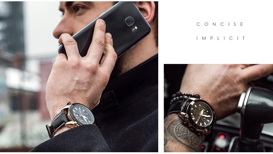 MEGIR Military Sport Watch Men Top Brand Luxury Leather Army Quartz Watches Clock Men Creative Chronograph Relogio Masculino