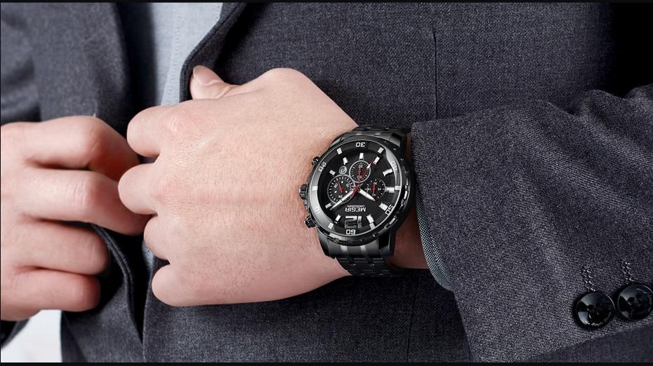 MEGIR Chronograph Quartz Men Watch Top Brand Luxury Army Military Wrist Watches Clock Men Relogio Masculino Business Wristwatch