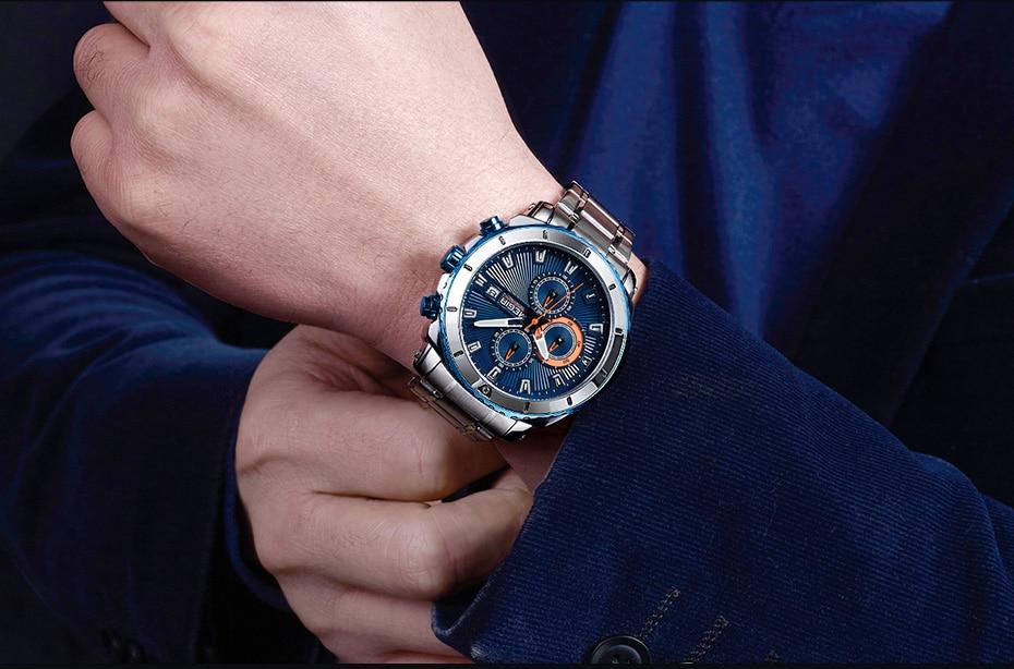 MEGIR Chronograph Quartz Men Watch Luxury Brand Stainless Steel Business Wrist Watches Men Clock Hour Time Relogio Masculino