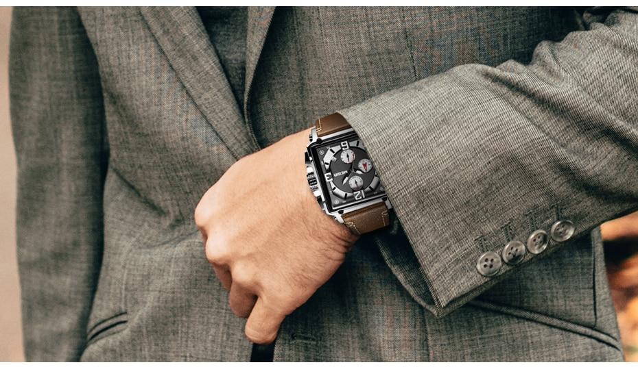 MEGIR Creative Men Watch Top Brand Luxury Chronograph Quartz Watches Clock Men Leather Sport Army Military Wrist Watches Saat