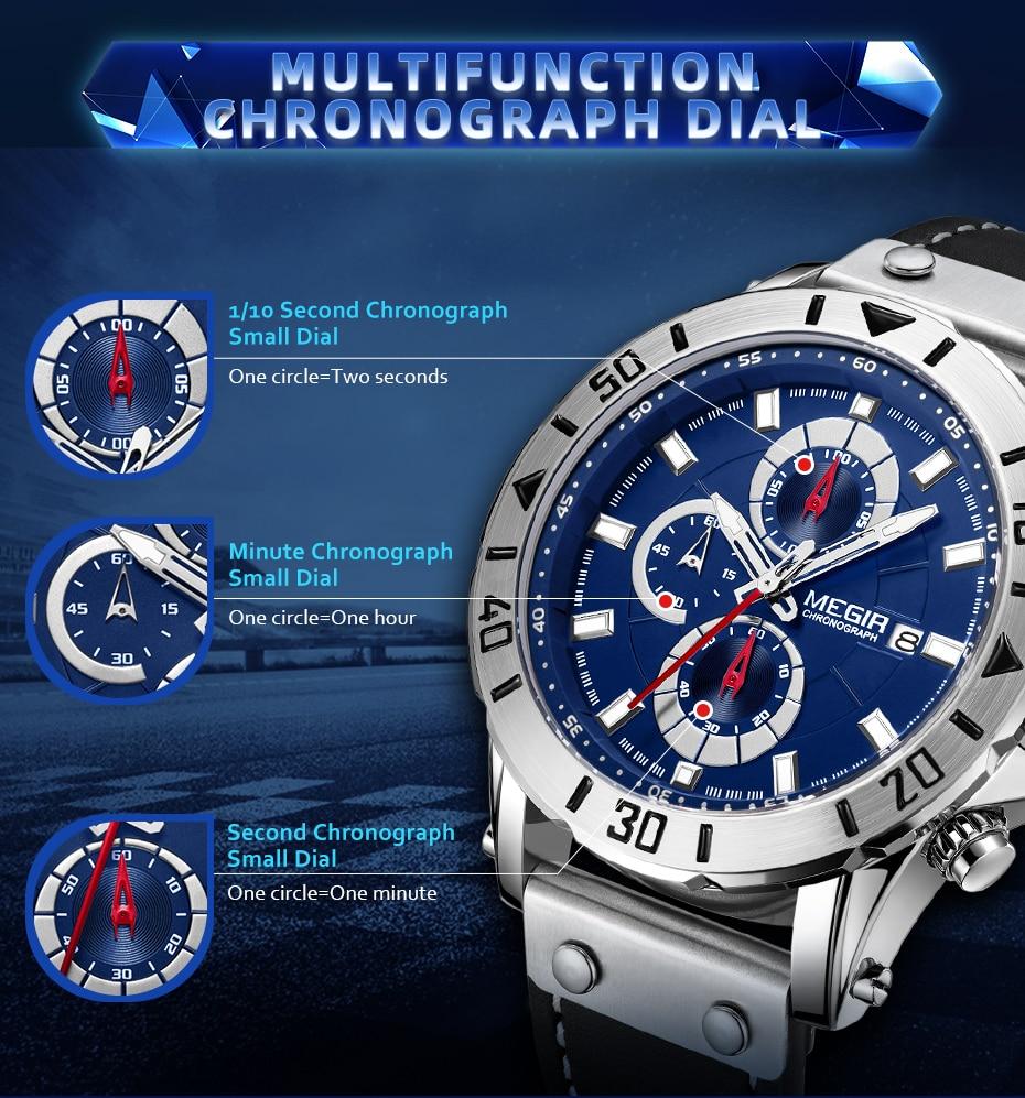Chronograph Quartz Watches for Men Top Brand Luxury MEGIR Blue Men Sport Watch Clock Relogio Masculino Montre Homme Hour Time