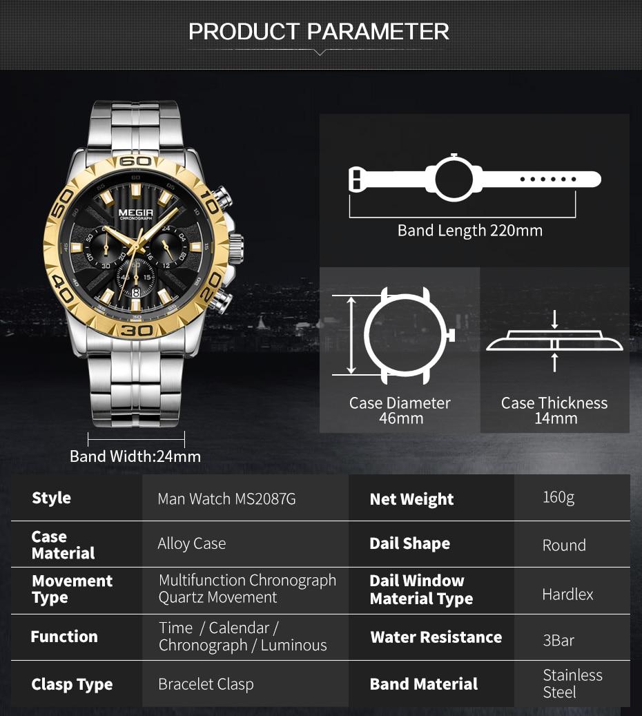 2020 New MEGIR Watch Men Chronograph Quartz Business Mens Watches Top Brand Luxury Waterproof Wrist Watch Reloj Hombre Saat