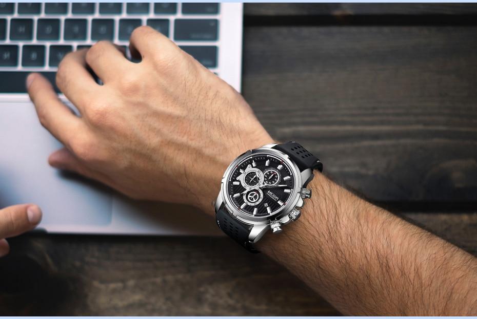 Mens Watches Top Brand Luxury MEGIR Silicone Military Sport Watch Chronograph Stopwatch Relogio Masculino Reloj Hombre Clock Men