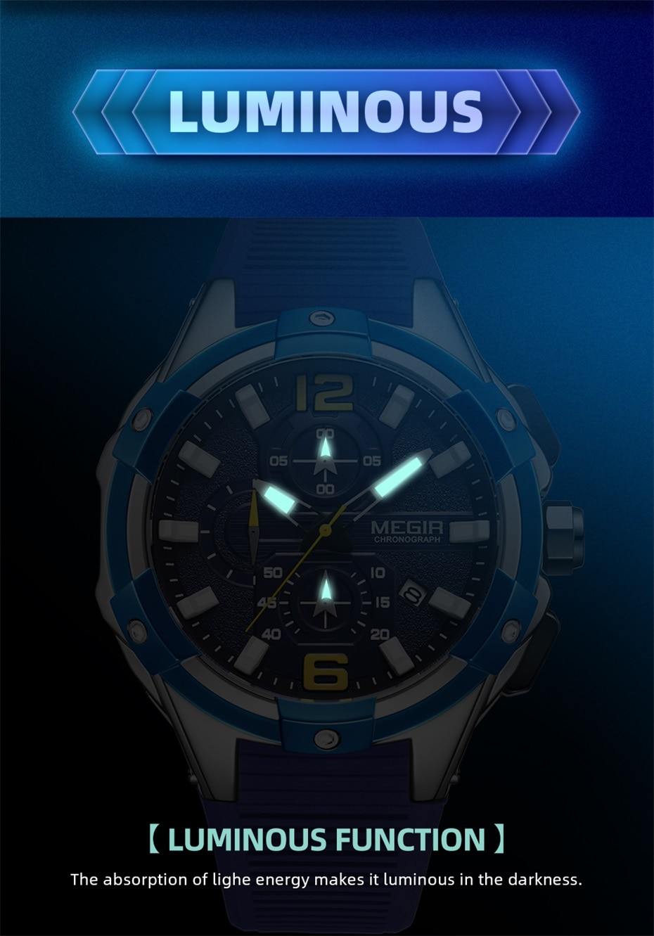 New Black Men Watch with Silicone Band