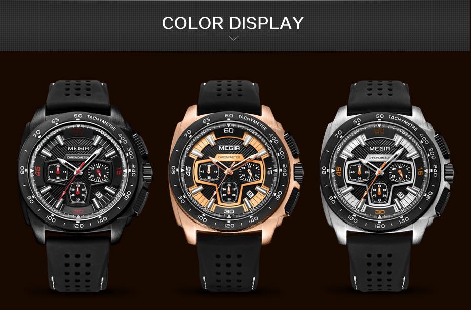 Mens Chronograph Sport Watches with Quartz Movement