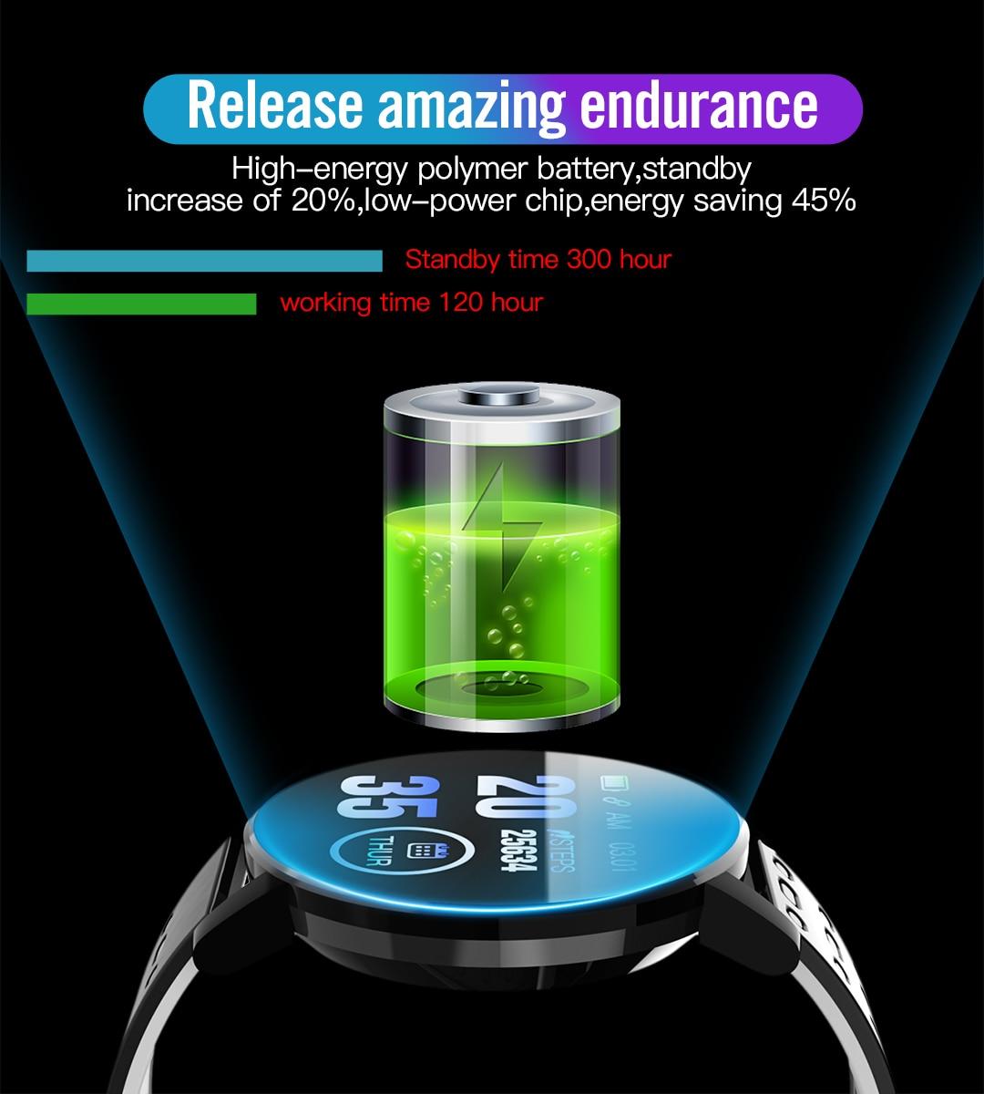 Smart Watch Blood Pressure Round Bluetooth Heart Rate Waterproof